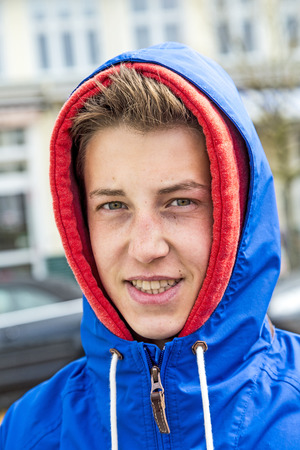 anorak: portrait of handsome boy with anorak