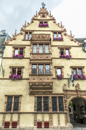 Maison des Tetes medieval house in the city of Colmar along the famous wine route of Alsace, France