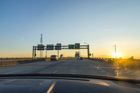 horace: crossing the Mississippi in sunset at Baton Rouge Stock Photo