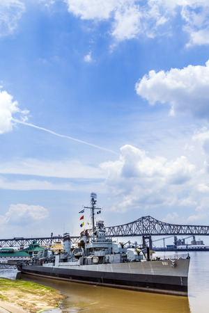 flagship: BATON ROUGE, USA - JULY 13, 2013: USS Kidd serves as museum in Baton Rouge, USA. USS Kidd was the first ship of the US Navy to be named after Rear Admiral Isaac C. Kidd, who died on the bridge of his flagship USS Arizona in the Pearl Harbor attack.
