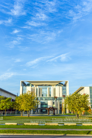 executive office: BERLIN, GERMANY - OCT 27, 2014: German Chancellery (Bundeskanzleramt) is a federal agency serving the executive office of the Chancellor in Berlin, Germany.