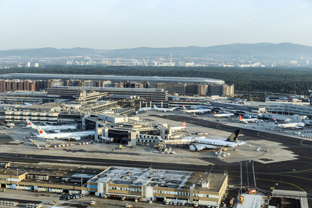 FRANKFURT, GERMANY - AUG 22, 2013: aerial of airport  in Frankfurt Germany. The new runway opened in APR 2012 and causes a lot of polictical discussion because of heravy noise.