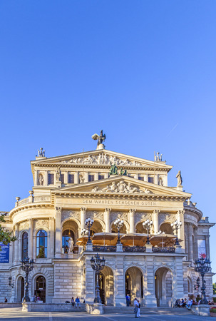alte: FRANKFURT - SEPT 5: Alte Oper in Frankfurt, Germany. Alte Oper is a concert hall built in the 1970s on the site of and resembling the old Opera House destroyed in WWII. Editorial