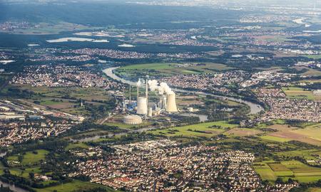 aerial of Grosskrotzenburg power station, Main river, Germany, Hessen photo