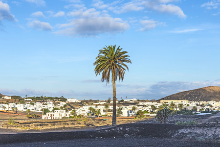 view to Uga in the morning, rural village in Lanzarote