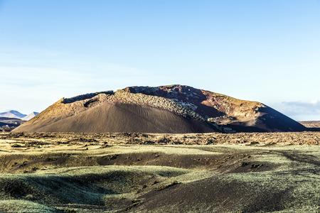 volcanic crater of caldera blanca in Lanzarote, Tinajo near Timanfaya national park