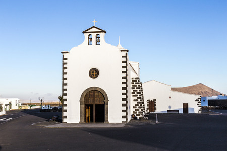 sain: church of Lady of Los Dolores in Tinajo, the church of the wonder of stopping lava flow Stock Photo
