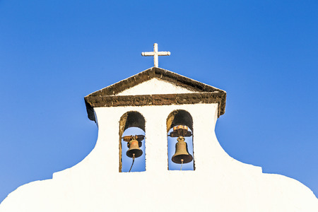 halted: church of Lady of Los Dolores in Tinajo, the church of the wonder of stopping lava flow Stock Photo