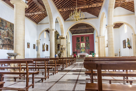 oliva: LA OLIVA, SPAIN - NOV 19, 2014: Church of Our Lady of La Candelaria in La Oliva, Spain.  The church is famous for its mudejar ceiling, and a painting of The Last Judgment by Juan de Miranda.
