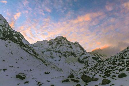 Starry sky over Machhepuchare and Annapurna Base Camp - Nepal, Himalayas photo