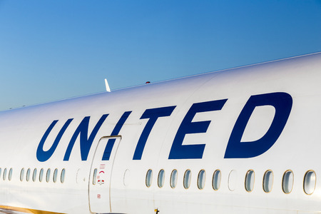 FRANKFURT, GERMANY - JULY 17, 2014: United Airlines aircraft at logo on aircraft in Frankfurt. United Airlines is headquartered in Chicago, Illinois.