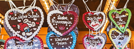 ZINNOWITZ, GERMANY - APRIL 19, 2014: Traditional Gingerbread Hearts at the Festival celebrating the start of spring in Zinnowitz, Germany. The easter festival takes place yearly at the easter sunday.