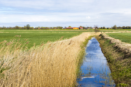 living idyll: Achterwasser in Usedom at the baltic sea with village at horizon Stock Photo