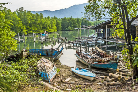 abandonment: old abandoned fishermens village in Koh Chang, Thailand Stock Photo