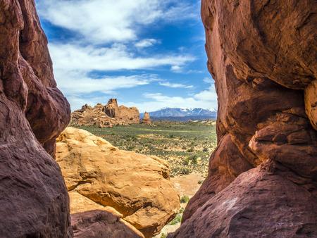 arching: Formaci�n Iconic roca arqueada en la madrugada cerca de Moab, Utah Foto de archivo