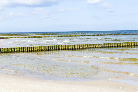 baltic sea: wave breakers at the baltic sea in Usedom