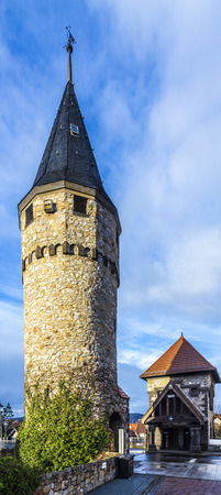 moat wall: Part of the original drawbridge tower that lead to the castle in Bad Homburg, near Frankfurt