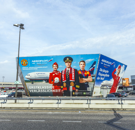 BERLIN, GERMANY - NOV 31, 2014: advertising of aeroflot in front of the terminal in Berlin, Germany. Berlin Tegel is an important stopover place for aeroflot to flights to russia.