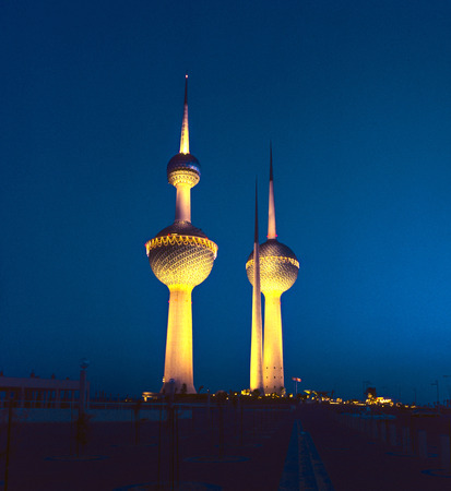 KUWAIT CITY, KUWAIT - JULY 1:  Kuwait Towers were officially inaugurated on February 26, 1977 and are rated as a landmark and symbol of modern Kuwait on July 1, 1983 in Kuwait City, Kuwait.