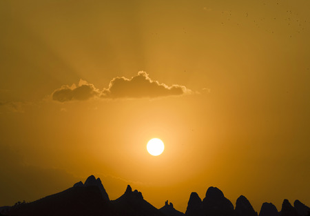 China Guilin Lijiang River and mountains in spectacular sunset photo