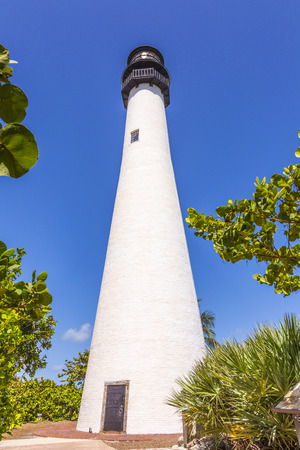 key biscayne: Famous lighthouse at Cape Florida in the south end of Key Biscayne , Miami