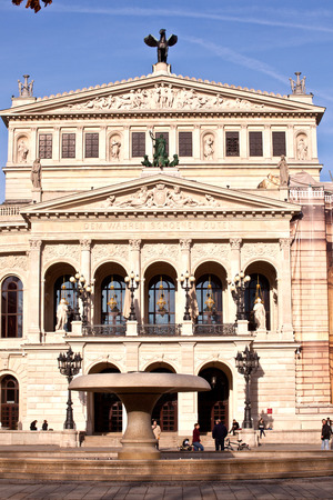 alte: FRANKFURT, GERMANY - FEB 9, 2011: the Old opera house in Frankfurt, Germany. Alte Oper is a concert hall build in 1970s on the site of and resembling the old Opera House destroyed in 1944.