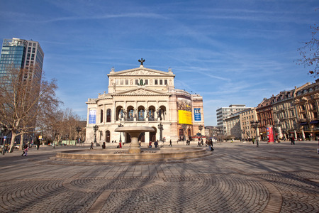 oper: FRANKFURT, GERMANY - FEB 9, 2011: the Old opera house in Frankfurt, Germany. Alte Oper is a concert hall build in 1970s on the site of and resembling the old Opera House destroyed in 1944.