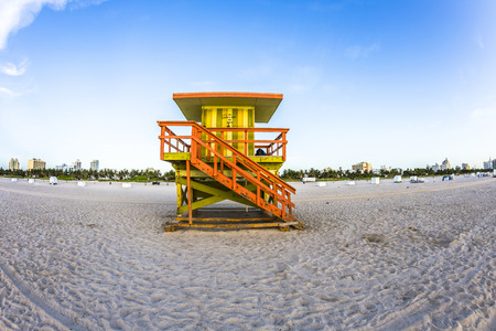 south beach: life guard tower on South Beach, Miami, Florida in sunset