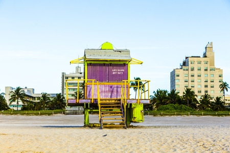 south beach: life guard tower on South Beach, Miami, Florida