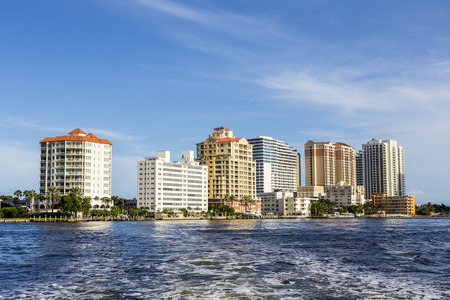 skyline of Fort Lauderdale from the canal photo