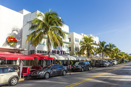 artdeco: MIAMI, USA - AUG 20, 2014: Day view at Ocean drive in Miami, USA. Art Deco Life in South Beach at ocean drive is one of the main tourist attractions in Miami.