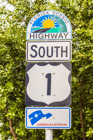 highway sign: highway sign No1 Florida keys Editorial