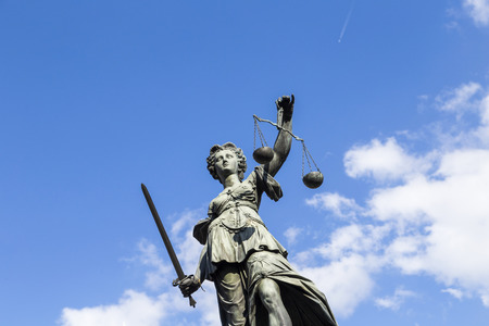 judicature: Statue of Lady Justice (Justitia) in Frankfurt, Germany