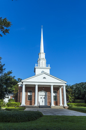 methodist: Fairhope  church from outside with white wooden clock tower