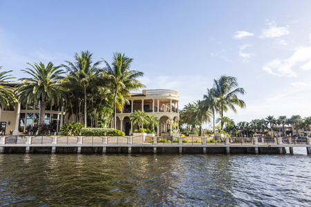 waterways: FORT LAUDERDALE, USA - AUG 20, 2014: Luxurious waterfront home in Fort Lauderdale, USA. There are 165 miles of waterways within the city limits and 9,8 percent of the city is covered by water. Editorial