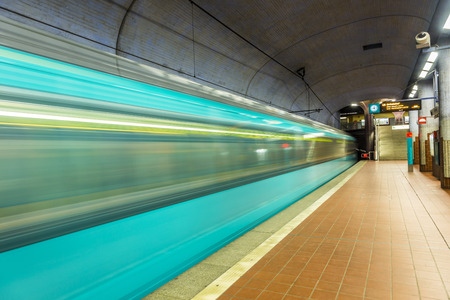 westend: metro station with blurred arriving train