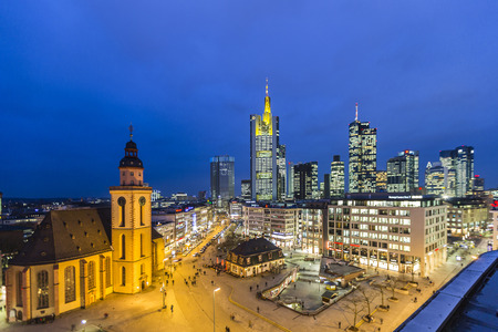 plazas: FRANKFURT, GERMANY - JAN 21, 2014: view to skyline of Frankfurt with Hauptwache on in Frankfurt, Germany. The Hauptwache is a central point and one of the most famous plazas in town. Editorial
