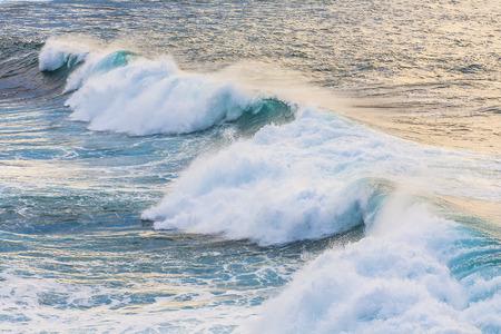 los hervideros: beautiful blue high waves of the atlantic ocean