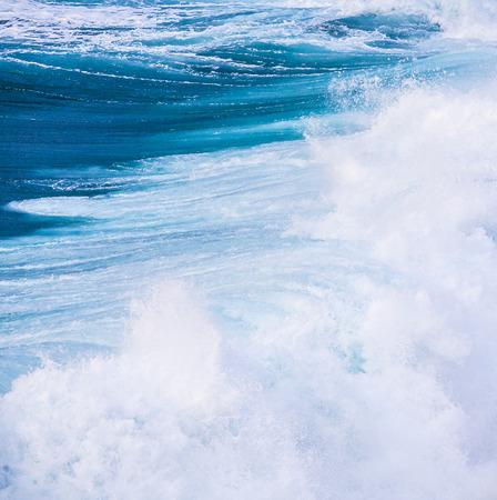 beautiful blue high waves of the atlantic ocean