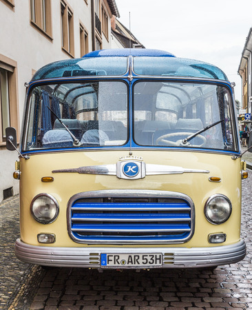 freiburg: FREIBURG, GERMANY - JULY 29, 2014: famous old bus transports people to touristic evvents in Freiburg, Germany.