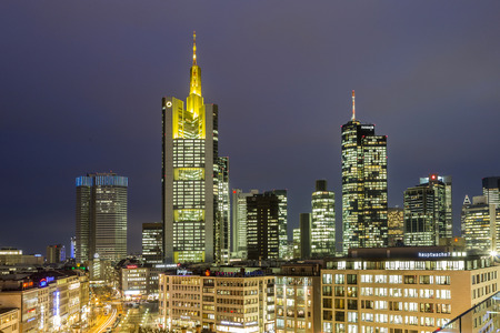 plazas: FRANKFURT, GERMANY - JAN 21, 2015: view to skyline of Frankfurt with Hauptwache on in Frankfurt, Germany. The Hauptwache is a central point and one of the most famous plazas in town.