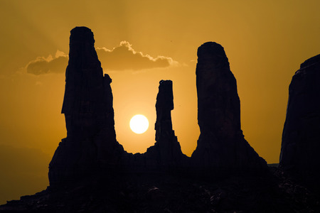 famous sandstone Rocks called Three Sieters Butte in monument valley photo