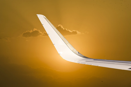 spectacular: wing and wingtip device in bright spectacular sunset