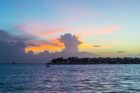 Sunset at Key West with bright sky at the sunset point photo
