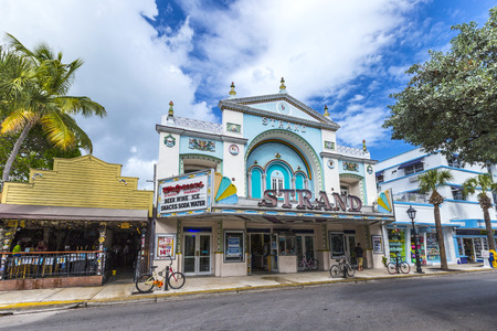 west usa: KEY WEST, USA - AUG 26, 2014: Key West cinema theater Strand in Key West, Florida, USA, It is a historic cinema but still in use.