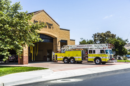 newest: SAN LUIS OBISPO, USA - JULY 28, 2008: fire station of San Luis Obispo with emergency car in  San Luis Obispo, USA. Fire Station One in 2160 Santa Barbara Avenue is the newest firehouse in the city.