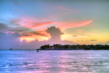 spectacular sunset at Key West at Mallory famous place photo