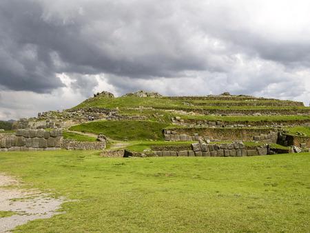 andes: Sacsayhuaman, Incas ruins in the peruvian Andes at Cuzco Peru Stock Photo
