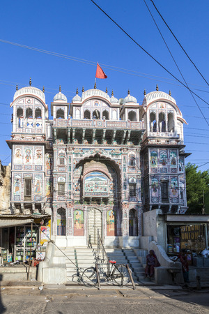 bikaner: BIKANER, INDIA - OCT 24, 2012: facade of beautiful living house of a former trader family in Bikaner, India. Editorial