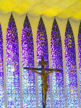 utopian: BRASILIA, BRAZIL - OCT 26, 2013: The Santuario Dom Bosco (Sanctuary of Dom Bosco)  honors the Italian saint who dreamed of a utopian city in 1883 in Brasilia, Brazil. Editorial